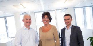Sverre Thornes, konsernsjef I KLP, Marianne Sevaldsen, konserndirektør for Livdivisjonen I KLP og Rune Hørnes, konserndirektør for IT I KLP