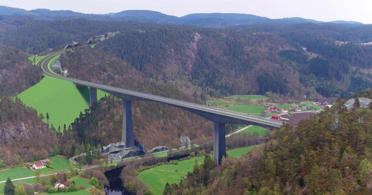Brua over Audna i Lindesnes kommune blir den største konstruksjonen med en lengde over 550 meter og seilingshøyde på mer enn 100 meter.